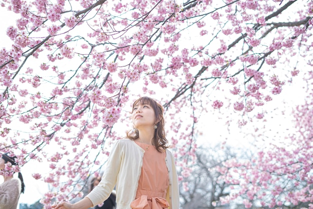 Ritratto preso sotto un ciliegio in piena fioritura