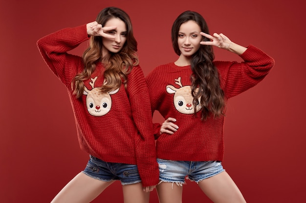 Ritratto di due gemelli dei migliori amici sorelle piuttosto pazze in maglione di inverno accogliente di modo che posa sulla parete rossa