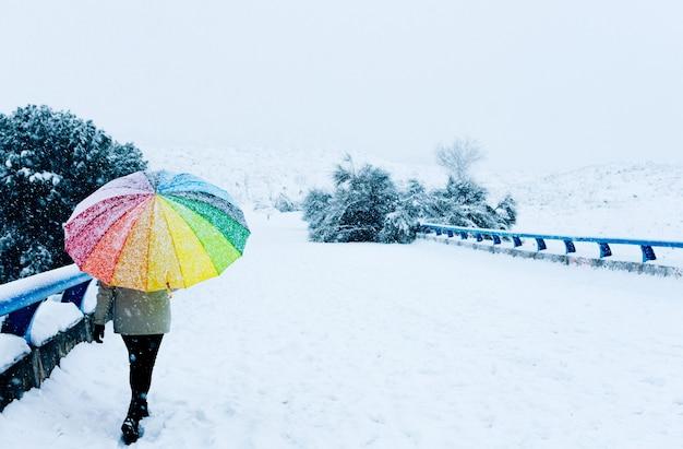 Ritratto di una donna con un ombrello colorato che cammina su un ponte innevato