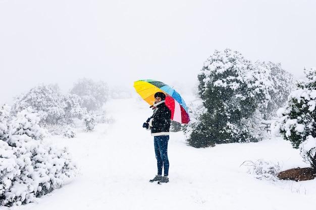 Ritratto di una donna con un ombrello colorato a piedi attraverso la foresta durante una nevicata.