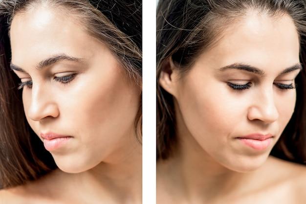 Ritratto di donna con confronto i suoi occhi prima e dopo l'estensione delle ciglia.