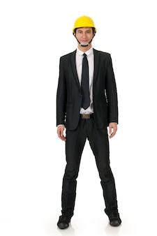 Ritratto di te uomo di costruzione asiatico con su sfondo bianco.