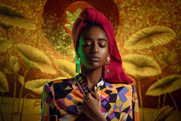 Ritratto di una giovane donna africana con gli occhi chiusi in abiti etnici. sciarpa rossa in testa,