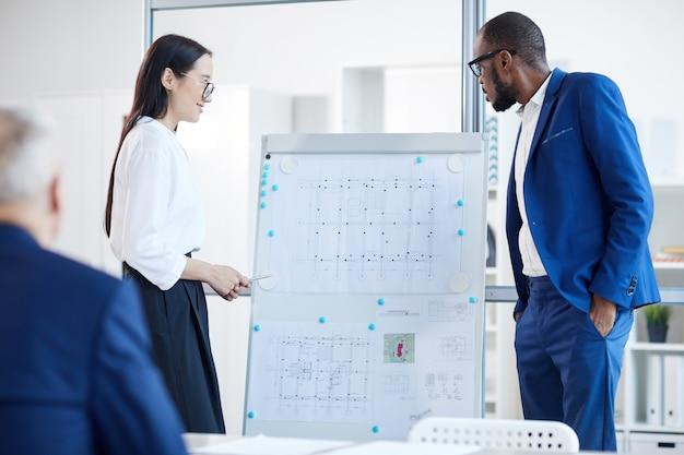Ritratto di giovane imprenditrice asiatica in piedi dalla lavagna mentre presenta il progetto di design al capo durante la riunione in ufficio, copia ritmo