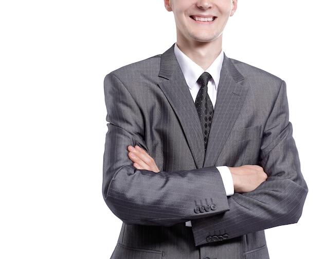 Ritratto di un giovane imprenditore. isolato su sfondo bianco
