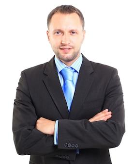 Ritratto di un giovane uomo d'affari isolato su sfondo bianco