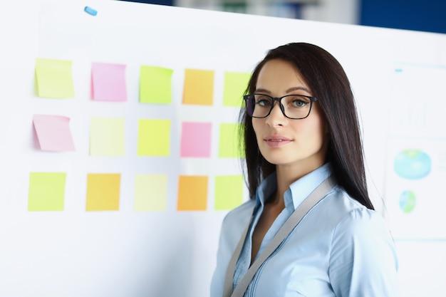 Ritratto di giovane imprenditrice con gli occhiali su sfondo di lavagna bianca