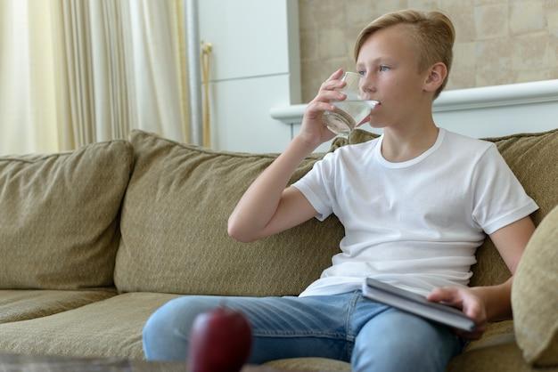 Ritratto di giovane ragazzo scandinavo bello con capelli biondi nel soggiorno di casa