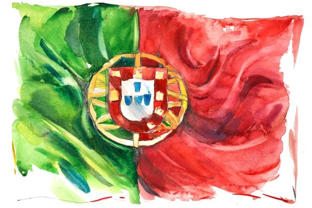 Portogallo, bandiera portoghese. illustrazione dell'acquerello disegnato a mano.