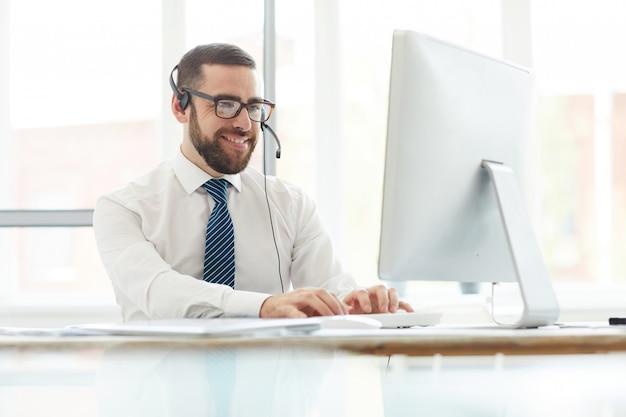 Messaggio del sito web di risposta dell'operatore positivo del centralino