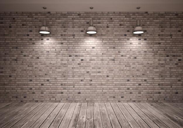 Poster sul muro di mattoni in camera con lampade