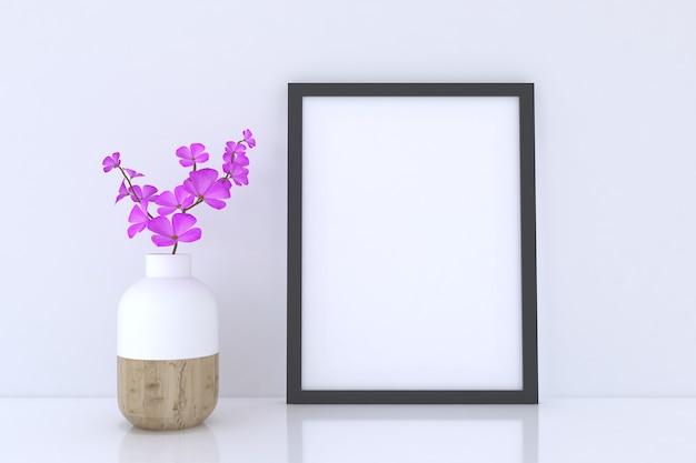 Mockup di cornice per poster sul pavimento con vaso di fiori