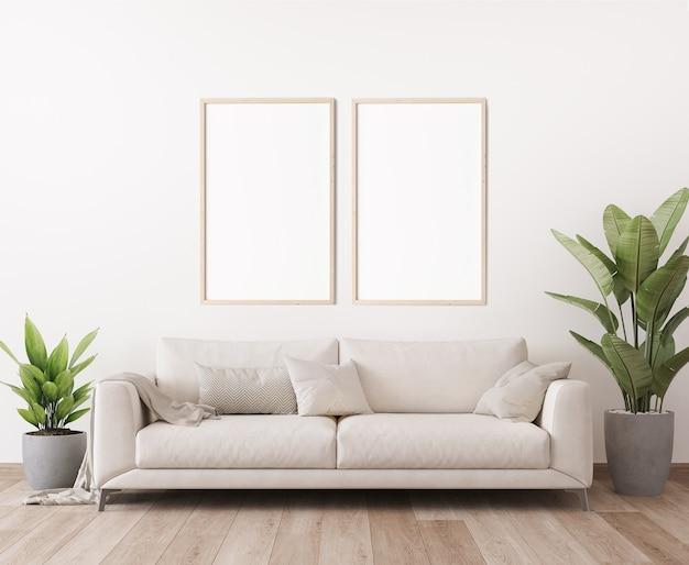 Mockup di cornice per poster nel design del soggiorno luminoso minimo