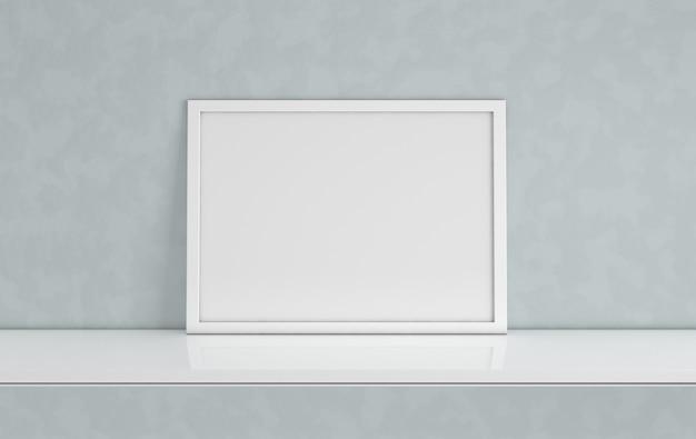 Mockup di cornice per poster con copia spazio vuoto su grigio