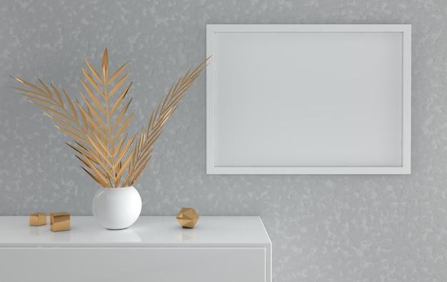 Mockup di cornice per poster con foglie di palma dorate negli elementi decorativi dorati del vaso su sfondo grigio