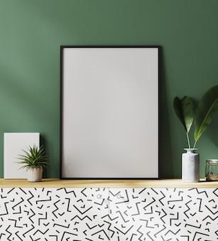 Mockup di cornice per poster con parete verde e foglie tropicali, rendering 3d
