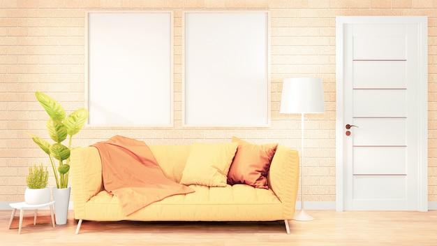 Cornice per poster divano giallo interno camera soppalcata, design muro di mattoni. rendering 3d