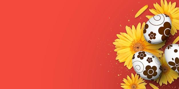 Poster, cartolina d'auguri e modello di banner con uova di pasqua e fiore di gerbera giallo su rosso