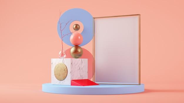 Mockup di poster in 3d rendering set surreale