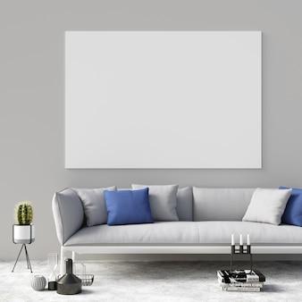Poster mockup in soggiorno con decorazioni