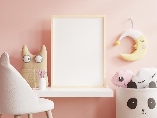 Poster derisi nella stanza di un bambino, su uno sfondo di muro rosa vuoto. rendering 3d