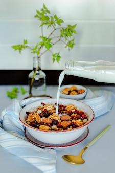 Versare il latte in una ciotola di muesli con noci, cioccolato e mirtilli rossi secchi. ciotolina con noci, cucchiaio, asciugamano e ramo verde
