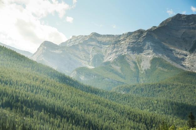 Vista del paesaggio naturale pov alla collina della catena montuosa rocciosa nel giorno d'estate nella columbia britannica in canada con cielo blu