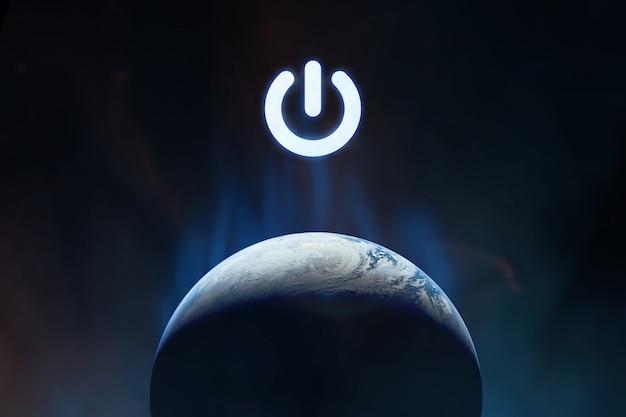 Pulsante di accensione sul pianeta terra nello spazio esterno
