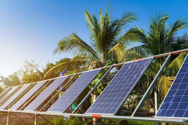 Pannello solare di alimentazione per l'agricoltura in un'area di case rurali campi agricoli cielo blu sullo sfondo, agro-industria della famiglia in stile rurale in thailandia, concetto di energia verde pulita alternativa di fattoria intelligente