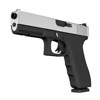 Potente polizia metallica o pistola militare pistola su sfondo bianco. rendering 3d