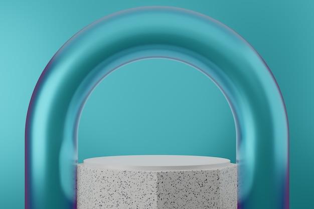 Sfondo da studio podio di lusso blu premium per la visualizzazione del prodotto. render 3d di scena di sfondo astratto per la pubblicità del prodotto.