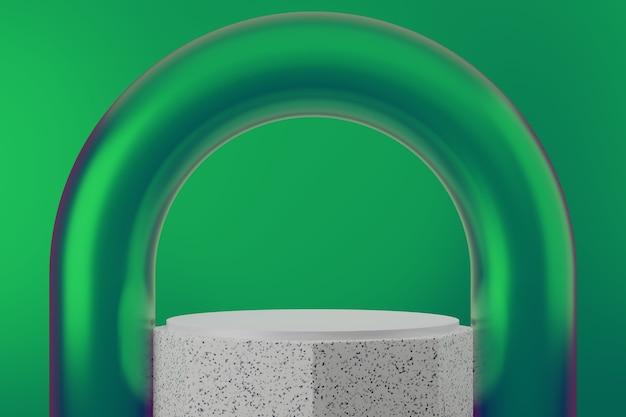 Sfondo di studio podio di lusso verde premium per la visualizzazione del prodotto. abstract background scene 3d render per la pubblicità del prodotto.