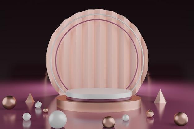 Premium luxury 3d rende lo sfondo dello studio del podio per il prodotto di visualizzazione. stand scena passo per la pubblicità del prodotto.