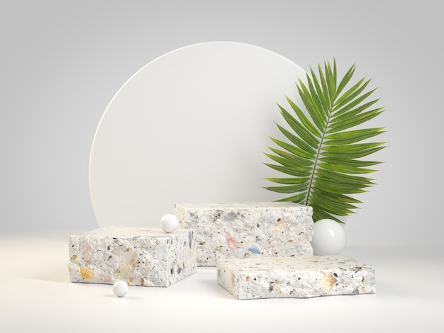 Collezione podio premium minimal terrazzo con foglie di palma 3d rendering