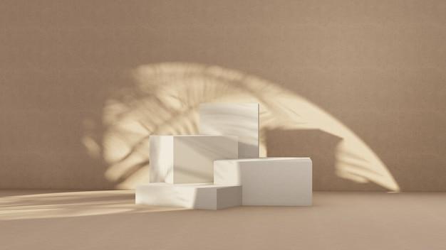 Podio premium su sfondo pastello per esposizione del prodotto, composizione geometrica astratta con ramo e ombra sul muro -3d rendering. mock up per mostre. promozione.