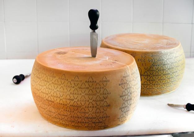 Preparando a tagliare due ruote di formaggio grana padano