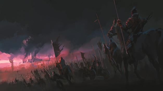 La pressione dell'esercito, antiche scene di guerra