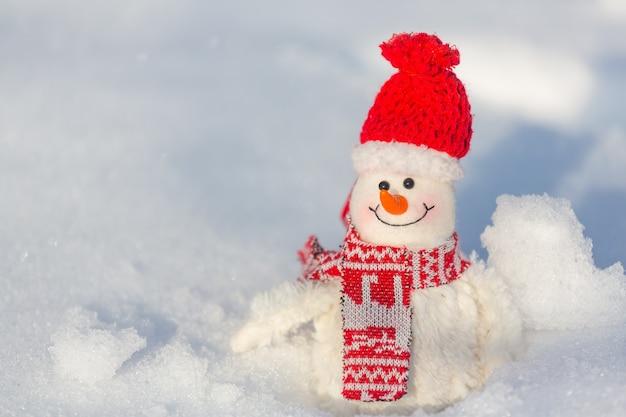 Pupazzo di neve grazioso su sfondo innevato
