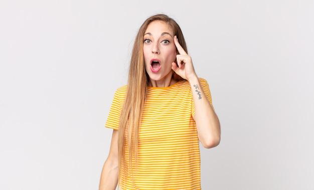 Donna piuttosto magra che sembra sorpresa, a bocca aperta, scioccata, realizzando un nuovo pensiero, idea o concetto