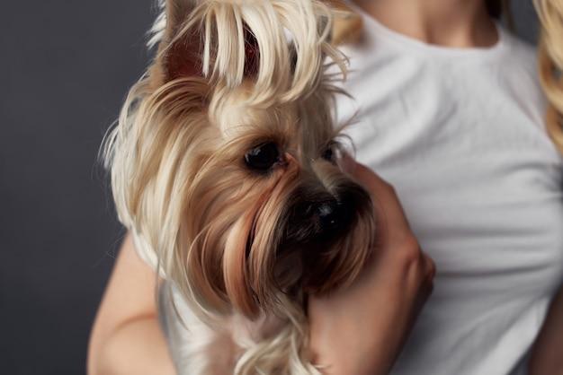 Bella donna di razza cane moda stile di vita isolato sfondo