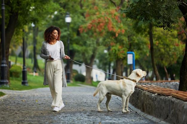 Giovane signora graziosa che cammina con il cane in parco di mattina