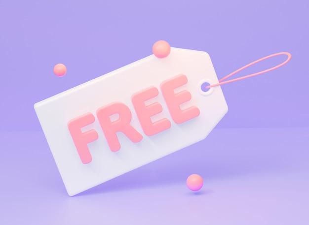 Cartellino del prezzo etichetta un'iscrizione gratuita su sfondo viola. illustrazione della rappresentazione 3d.