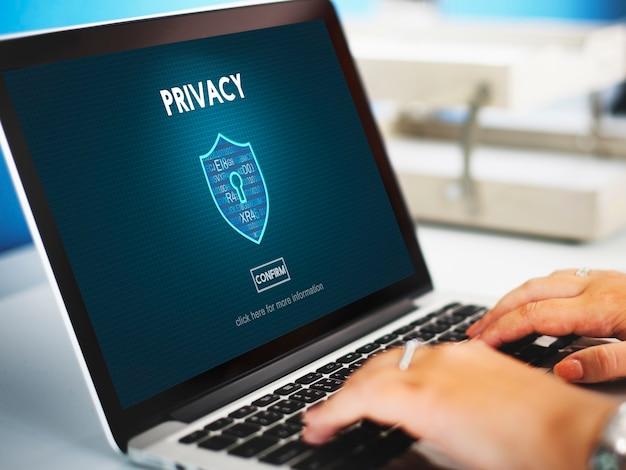 Concetto di protezione della sicurezza del segreto privato della privacy