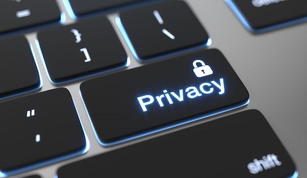 Testo sulla privacy sul pulsante della tastiera. concetto di privacy su internet.