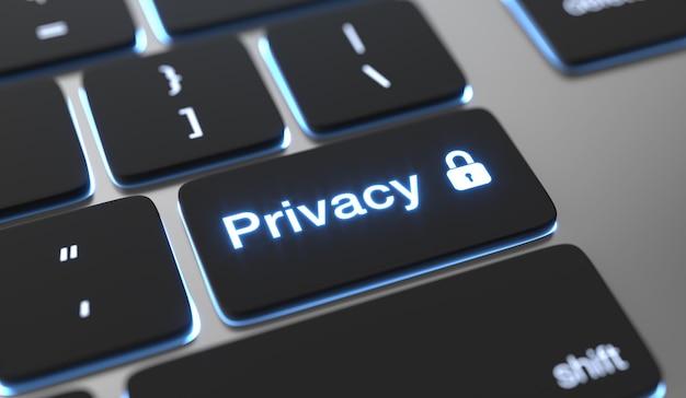 Testo privacy sul pulsante della tastiera