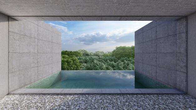 Piscina privata, vista dall'unità della stanza, stile cemento nudo. rendering 3d
