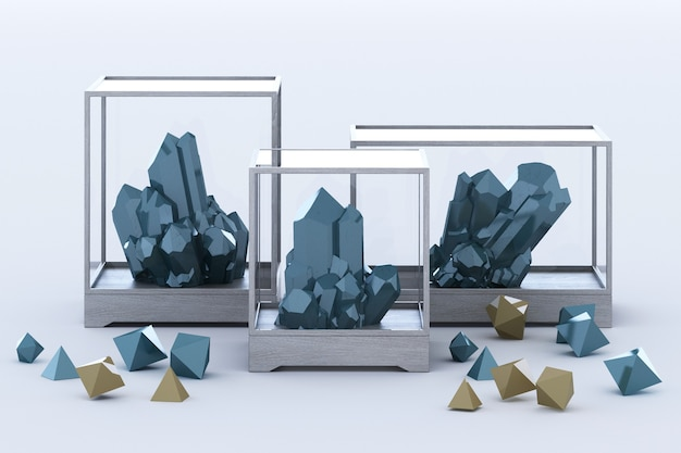 Prodotto di formazione minerale blu, minerali, quarzo, gemme, diamanti. rendering 3d