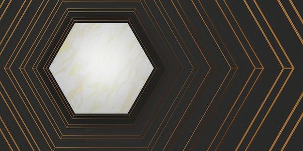 Display del prodotto cornice esagonale in marmo bianco texture di sfondo per il testo e le merci 3d illustration