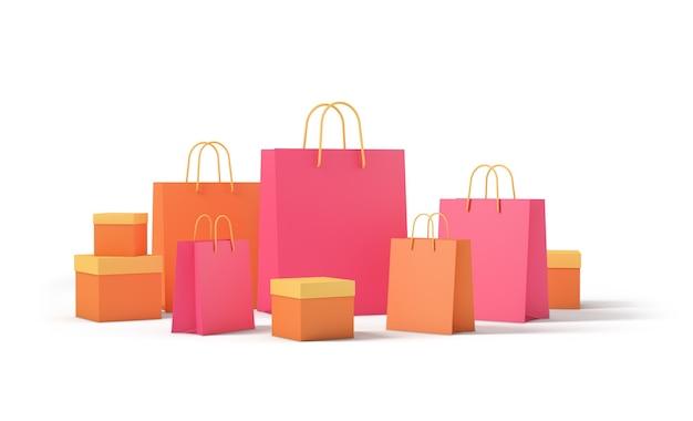 Scatole del pacchetto del prodotto e shopping bag