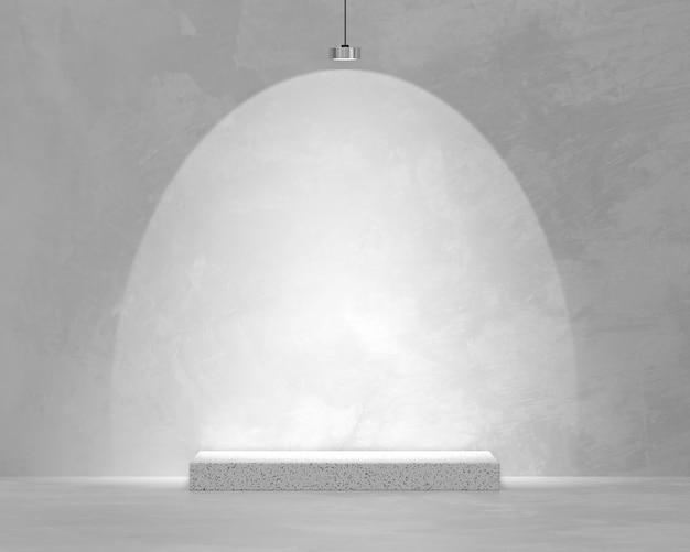 Vetrina della piattaforma del prodotto con rendering 3d downlight